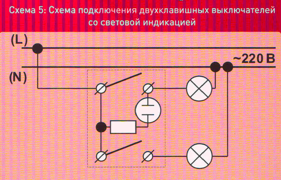 Схемы подключения к сети выключателя и лампы