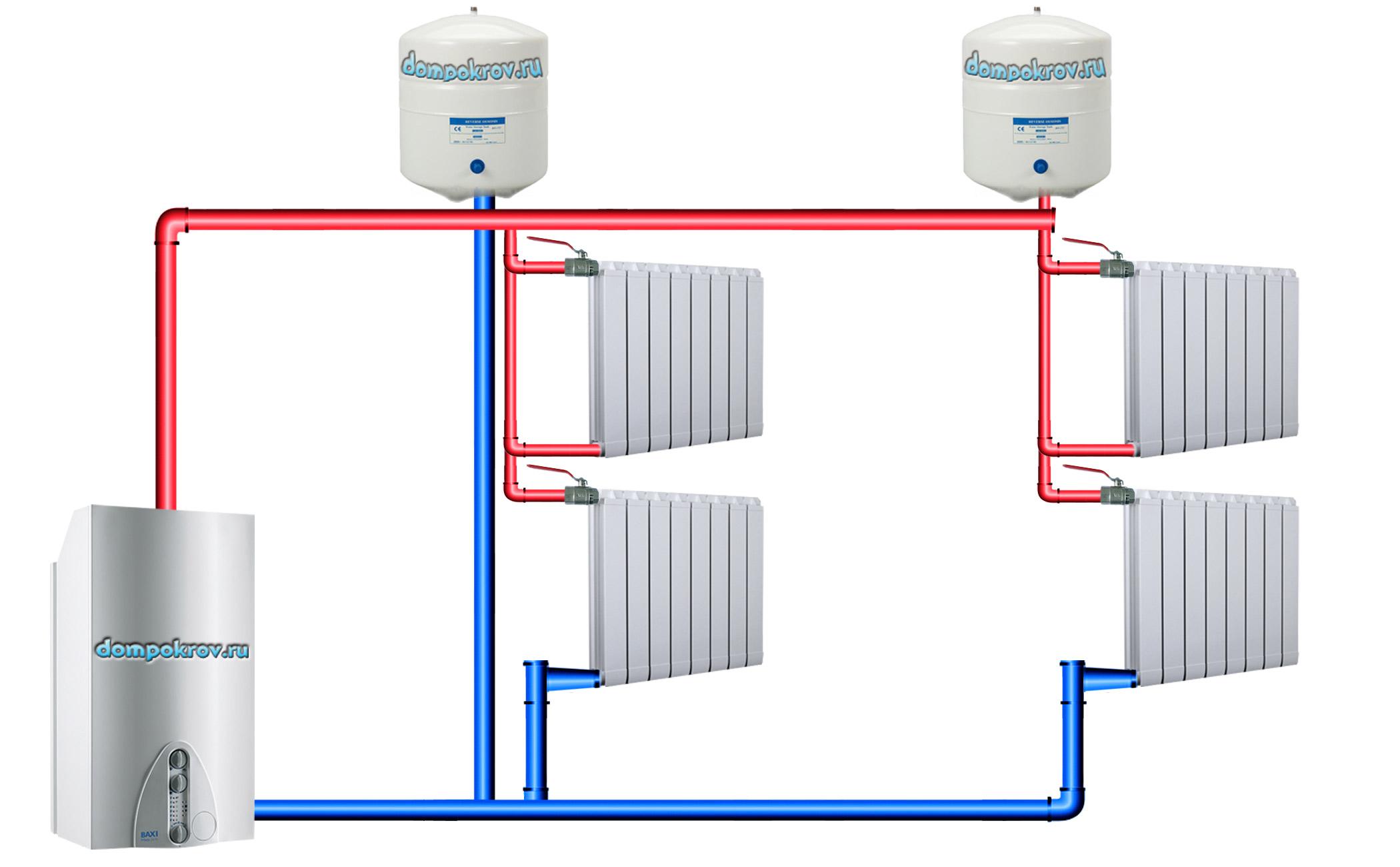 Схема верхней разводки отопления фото 793